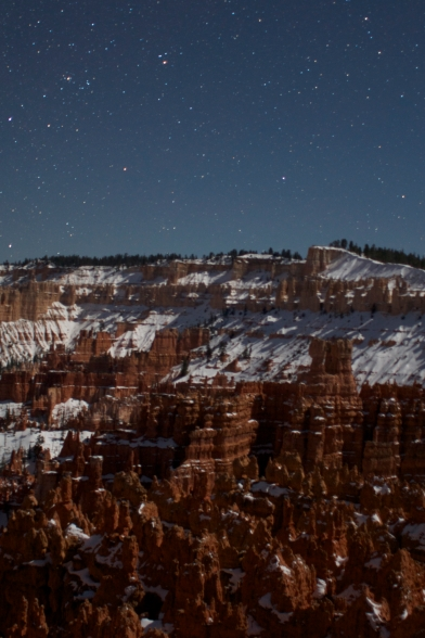 Stars above Bryce Canyon in winter